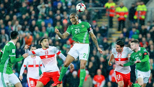 Northern Irelands Josh Magennis in action during the World Cup qualifying playoff at Windsor Park on November 9th 2017   (Photo by Kevin Scott / Belfast Telegraph)