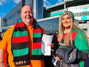 Glentoran fans Tommy and Sarah McKee arrive at the National Stadium at Windsor Park in Belfast for the Irish Cup final clash between Glentoran and Ballymena United. PA Photo. Picture date: Friday July 31, 2020. See PA story ULSTER Coronavirus. Photo credit should read: Rebecca Black/PA Wire