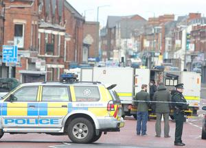 The scene at the top of Hillsborough Drive off the Woodstock Road in east Belfast where a device exploded under a van resulting in one man being hospitalised.   Picture by Jonathan Porter/PressEye