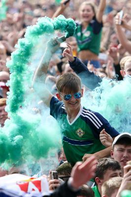 Press Eye - Northern Ireland - 21st June 2016  Northern Ireland fans gather in the Fanzone at the Titanic Quarter to watch Northern Ireland face Germany.  Picture: Philip Magowan / PressEye