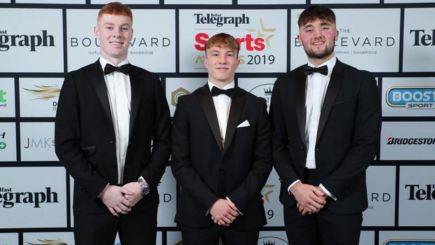 Press Eye - Belfast - Northern Ireland - 20th January  2020   Nathan Doak, Lewis Nelmes and Ben Carson pictured at the 2019 Belfast Telegraph Sport Awards at the Crowne Plaza Hotel in Belfast.  Photo by Kelvin Boyes / Press Eye.