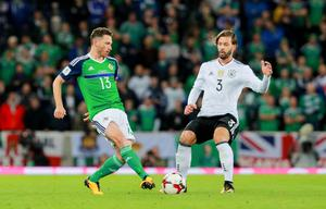 Northern Ireland's Corry Evans and Germany's Marvin Plattenhardt in action during the World Cup Qualifier at Windsor Park in Belfast on October 4th 2017 (Photo by Kevin Scott / Belfast Telegraph)