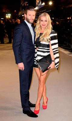 Eddie Boxshall and Denise Van Outen attending the UK premiere of Fifty Shades of Grey at the Odeon Leicester Square, London. PRESS ASSOCIATION Photo. Picture date: Thursday February 12, 2015. See PA story SHOWBIZ Fifty. Photo credit should read: Dominic Lipinski/PA Wire