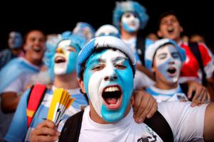 Argentina fans show their support in the stands before the Rugby World Cup match at the Kingsholm Stadium, Gloucester. PRESS ASSOCIATION Photo. Picture date: Friday September 25, 2015.