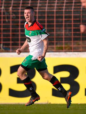 Net gains: Mark Clarke celebrates scoring during his Glentoran spell