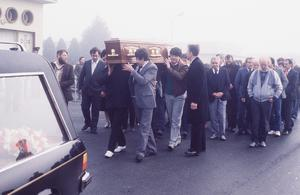 The body of Mrs Mary McGlinchey being removed from Dundalk hospital to be taken North to her fathers home near Toomebridge.   Pictures of sons Declan and Dominic who witnessed the shooting, father of Mary Mr Paddy McNeill carrying the coffin as it arrives home in Toomebridge.  Pacemaker Press Intl. 2/2/87