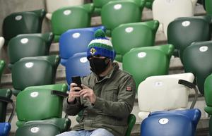 PACEMAKER PRESS  BELFAST 11/10/2020 Northern Ireland v Austria UEFA Nations League    Northern Ireland Fans  during this evening's match  at the National Football stadium at Windsor Park in Belfast. Pic Colm Lenaghan/Pacemaker