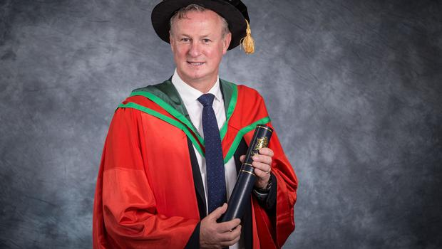 Manager of the Northern Ireland football team, Michael O'Neill, received the honorary degree of Doctor of Science (DSc) for his contribution to Irish football. (Photo: Nigel McDowell/Ulster University)
