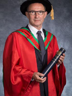 Manager of the Republic of Ireland football team, Martin O'Neill, received the honorary degree of Doctor of Science (DSc) for his contribution to Irish football.  (Photo: Nigel McDowell/Ulster University)