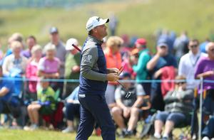 Press Eye - Belfast - Northern Ireland - 8th July 2017   Day three of the Dubai Duty Free Irish Open Hosted by the Rory Foundation at Portstewart Golf Club, Co.Derry / Co. Londonderry, Northern Ireland.  Peter Hanson finishes his round on the 18th green -6 for the round and -11 under overall  Picture by Matt Mackey / presseye.com