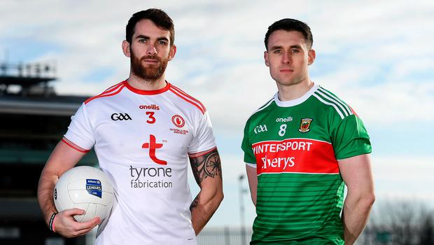 Picture that: Ronan McNamee of Tyrone and Patrick Durcan of Mayo at Healy Park earlier this week