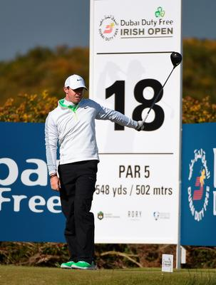 NEWCASTLE, NORTHERN IRELAND - MAY 29:  Rory McIlroy of Northern Ireland gestures on the 18th hole during the Second Round of the Dubai Duty Free Irish Open Hosted by the Rory Foundation at Royal County Down Golf Club on May 29, 2015 in Newcastle, Northern Ireland.  (Photo by Ross Kinnaird/Getty Images)