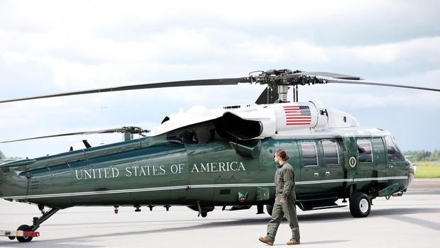 SHANNON, IRELAND - JUNE 05: US Marine Corps aircraft Marine One awaits the arrival of US President Donald Trump at Shannon Airport on June 5, 2019 in Shannon, Ireland. After visiting the UK for the D-Day 75th anniversary, US President Donald Trump will visit Ireland to meet with Taoiseach Leo Varadkar before travelling to the Trump International Golf Links resort in Doonbeg. (Photo by Pool/Getty Images)