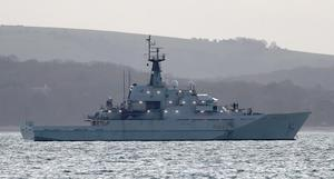 The Royal Navy's HMS Mersey is one of four river patrol vessels put on stand-by to guard against European trawlers entering UK territory if the trade talks with Brussels fail (Andrew Matthews/PA)