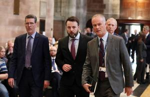 Press Eye Northern Ireland  Wednesday 24th April 2019   SDLP leader Colum Eastwood at the funeral and service of thanksgiving for the life of  journalist Lyra McKee at St AnneÄôs Cathedral, Donegall Street, Belfast.  Lyra McKee was murdered in Creggan in Derry on Thursday 18th April.  Photo by Kelvin Boyes / Press Eye.