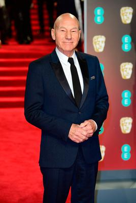 Patrick Stewart attending the EE British Academy Film Awards held at the Royal Albert Hall, Kensington Gore, Kensington, London.  PRESS ASSOCIATION Photo. Picture date: Sunday February 18, 2018. See PA Story SHOWBIZ Bafta. Photo credit should read: Ian West/PA Wire.
