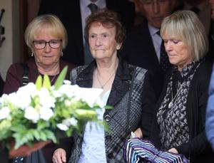 PACEMAKER, BELFAST, 11/7/2018: William Dunlop's grandmother May at the motorcycle racer's funeral at Garryduff Presbyterian church outside Ballymoney today. Dunlop was killed in a crash during practice for the Skerries 100 last Saturday. PICTURE BY STEPHEN DAVISON