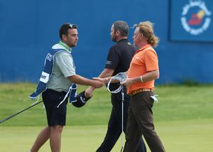 Press Eye - Belfast - Northern Ireland - 8th July 2017   Day three of the Dubai Duty Free Irish Open Hosted by the Rory Foundation at Portstewart Golf Club, Co.Derry / Co. Londonderry, Northern Ireland.  Miguel Angel Jiménez on the 18th green along with Duncan Stewart  Picture by Matt Mackey / presseye.com