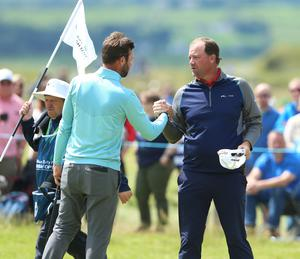 Press Eye - Belfast - Northern Ireland - 8th July 2017   Day three of the Dubai Duty Free Irish Open Hosted by the Rory Foundation at Portstewart Golf Club, Co.Derry / Co. Londonderry, Northern Ireland.  Peter Hanson finishes his round on the 18th green -6 for the round and -11 under overall along with Scott Jamieson who is 11under.  Picture by Matt Mackey / presseye.com