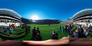 CHICAGO, IL - NOVEMBER 05:  (EDITOR'S NOTE: Image was created as an Equirectangular Panorama. Import image into a panoramic player to create an interactive 360 degree view.) The teams line up for the anthems during the international match between Ireland and New Zealand at Soldier Field on November 5, 2016 in Chicago, United States.  (Photo by Phil Walter/Getty Images)