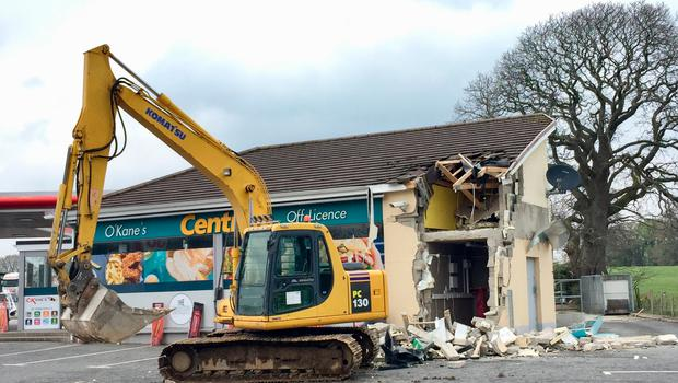 The scene in Dungiven, Co Londonderry, after a cash machine was ripped from a wall and stolen in the latest of a spate of ATM thefts. Photo credit: David Young/PA Wire
