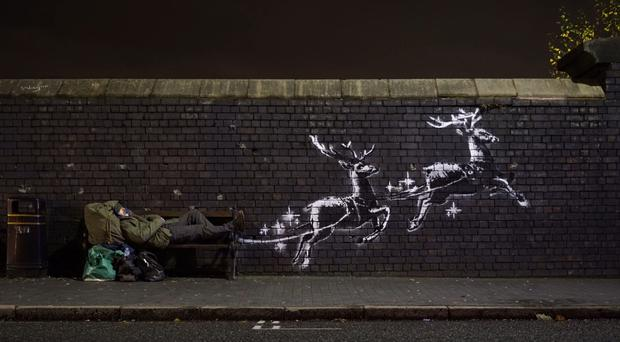 """Screengrab taken from a video with permission from Banksy showing new artwork titled """"God Bless Birmingham"""", which has surfaced in Vyse Street, Birmingham (Banksy/Instagram/PA)"""
