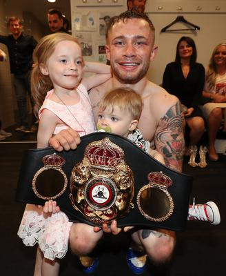 Carl Frampton pictured with his children Carla and Rossa after defeating Leo Santa Cruz in Saturday nights WBA featherweight title contest against Leo Santa Cruz at the Barclays Centre, Brooklyn, NY.  Press Eye - Belfast -  Northern Ireland - 30th July 2016 - Photo by William Cherry