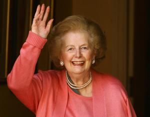 LONDON, ENGLAND - 2009: (FILE PHOTO)  Baroness Margaret Thatcher, 85, Britain's Prime Minister from 1979 to 1990, Reports on April 8, 2013 state that Baroness Thatcher has died following a stroke.. Please refer to the following profile on Getty Images Archival for further imagery.  http://www.gettyimages.com/Search/Search.aspx?EventId=108930459&EditorialProduct=Archival   Baroness Thatcher waves from the front door of her home after returning from the Chelsea and Westminster Hospital following an operation on her broken arm on June 29, 2009 in London, England.   (Photo by Oli Scarff/Getty Images)