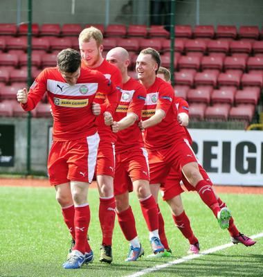 PACEMAKER BELFAST  27/04/2013 Cliftonville v Ballinamallard Danske Bank Premiership Cliftonville's Diarmuid O'Carroll opens the scoring during todays game at Solitude. Photo Kirth Ferris/Pacemaker Press