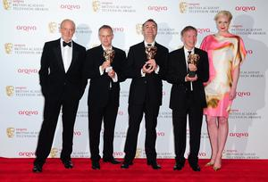 Left to right. Presenter Charles Dance, Steve Smith, Joe Magnusson, Graham Stuart and presenter Gwendoline Christie, with the Entertainment Programme Award for The Graham Norton Showat the 2013 Arqiva British Academy Television Awards at the Royal Festival Hall, London. PRESS ASSOCIATION Photo. Picture date: Sunday May 12, 2013. See PA story SHOWBIZ Bafta. Photo credit should read: Ian West/PA Wire