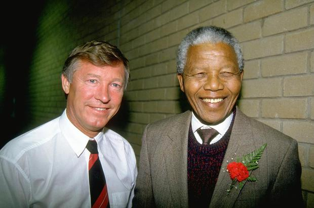 1993:  Portrait of Manchester United Manager Alex Ferguson and ANC Leader Nelson Mandela during their tour to South Africa. \ Mandatory Credit: David  Rogers/Allsport