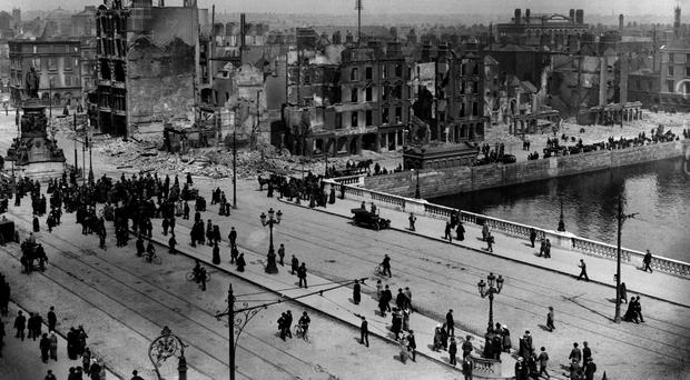 Sackville Street (now O'Connell Street) around the time of the 1916 Easter Rising (PA)
