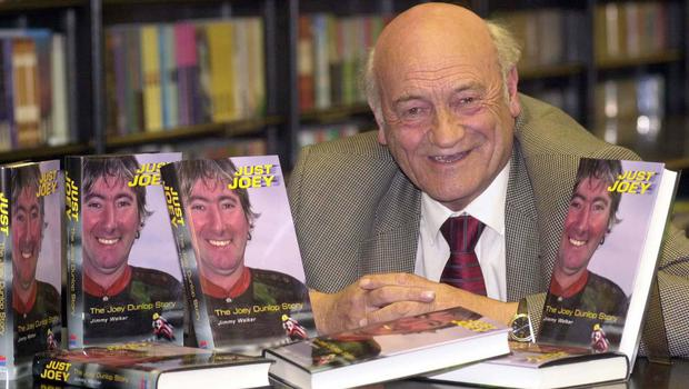 Ulster's top motorcycle racing correspondent, Jimmy Walker,  pictured at the launch of his Joey Dunlop biography, 'Just Joey' in Waterstone's bookshop, Belfast in 2001