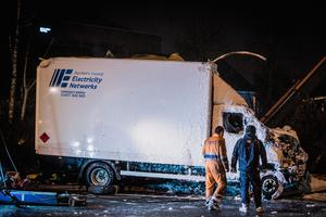 A stolen van overturns on the Springfield Road on February 16th 2021 (Photo by Kevin Scott for Belfast Telegraph)