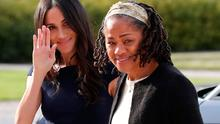 US actress and fiancee of Britain's Prince Harry Meghan Markle (L) arrives with her mother Doria Ragland at Cliveden House hotel in the village of Taplow near Windsor on May 18, 2018, the eve of her wedding to Britain's Prince Harry.