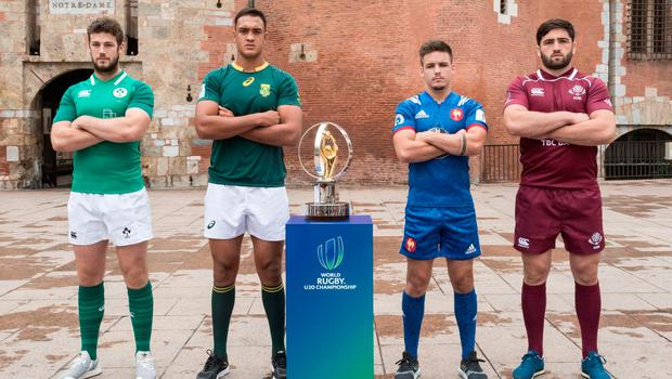 World line-up: The captains of the teams in Pool C, (from left) Caelan Doris (Ireland), Salmaan Moerat (South Africa), Arthur Coville (France) and Beka Saginadze (Georgia)