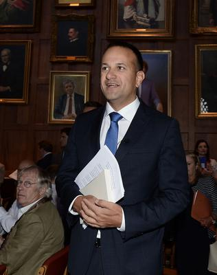 Pacemaker Press 4/8/17 Taoiseach  Leo Varadkar is welcomed at Queen's University, Belfast,  during his first official visit to Northern Ireland.  In the afternoon, he will hold meetings with political parties. Pic Colm Lenaghan/Pacemaker