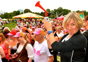 Comedienne Victoria Wood (right) signalling the beginning of The SunWalk, London, a pirate themed charity walk to raise money and awareness for breast cancer, Photo credit: John Stillwell/PA Wire