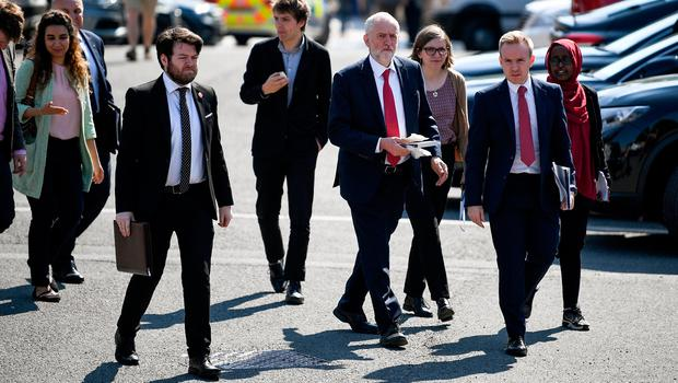 BELFAST, NORTHERN IRELAND - MAY 24:  Labour leader Jeremy Corbyn arrives at Queens University on May 24, 2018 in Belfast, Northern Ireland. Mr Corbyn was making his first visit to Northern Ireland since being elected as Labour leader three years ago. During his speech in Belfast he is expected to say he insists that he will not support any Brexit deal that supports a hard border with the Republic of Ireland.  (Photo by Jeff J Mitchell/Getty Images)