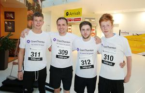Press Eye - Belfast -  Northern Ireland - 24th June 2015 -  Lewis Kitchen, Mathew Thompson, Kyle Best, Ryan Murray from Marks & Spencers at the first ever Grant Thornton Runway Run at Belfast City Airport this evening. Picture by Kelvin Boyes / Press Eye.