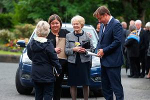 Patricia Hume (centre) arrives at St Eugene's Cathedral in Londonderry for the funeral of her husband John Hume. PA Photo. Picture date: Wednesday August 5, 2020. Hume was a key architect of Northern Ireland's Good Friday Agreement and was awarded the Nobel Peace Prize for the pivotal role he played in ending the region's sectarian conflict. He died on Monday aged 83, having endured a long battle with dementia. See PA story FUNERAL Hume. Photo credit should read: Niall Carson/PA Wire
