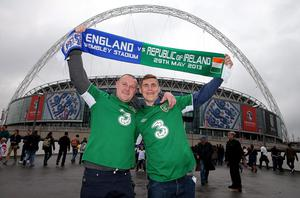 Thomas Murphy and Conor O'Sullivan from Bray in Ireland, outside Wembley Stadium before the International Friendly match at Wembley Stadium, London. PRESS ASSOCIATION Photo. Picture date: Wednesday May 29, 2013. See PA story SOCCER England. Photo credit should read: Nick Potts/PA Wire. RESTRICTIONS: Use subject to FA restrictions. Editorial use only. Commercial use only with prior written consent of the FA. No editing except cropping. Call +44 (0)1158 447447 or see www.paphotos.com/info/ for full restrictions and further information.