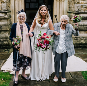 Megan with her grandmothers, Mary Kennedy (90), and Gillian Holloway (80). Picture by Kristian Leven Photography