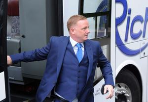 1/6/2013. Former Manchester United footballer David May arrives for the wedding of Helen McConnell to Manchester United and Northern Ireland football star Jonny Evans at Clough Presbyterian Church in County Antrim this afternoon. Picture Charles McQuillan/Pacemaker.