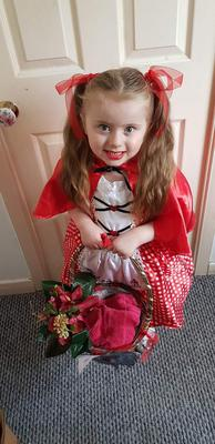 Hayley Kernohan aged 4 dressed as Little Red Riding Hood
