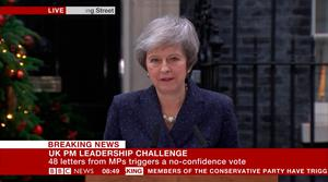 BBC News screengrab showing Prime Minister Theresa May making a statement outside 10 Downing Street, London, after the 1922 Committee announced that enough Conservative MPs have requested a vote of confidence in Mrs May to trigger a leadership contest / Credit: BBC News/PA Wire