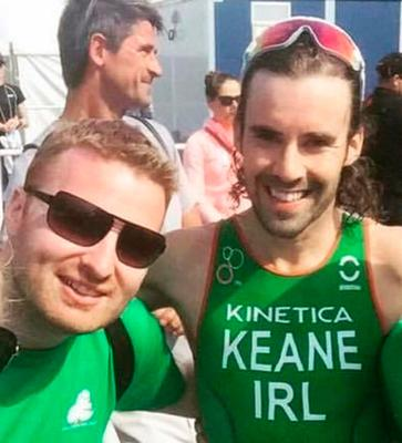 Numbers game: Marty Loughran (above, left) with triathlete Brian Keane in Japan