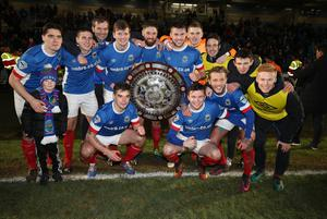 Presseye.com 7th February 2017 Toals County Antrim Shield final between Crusaders and Linfield at the Showgrounds in Ballymena. Linfields players celebrate Photograph by Presseye/Matt Mackey