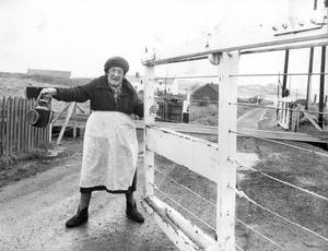 Northern Ireland Railways.  For the past 25 years Annie Kelly has been keeping the level crossing at Barmouth, Castlerock, Co. Derry, safe for train drivers, passengers and motorists.  Annie now 74 has to give way to automation.  She is being replaced by an automatic crossing gate.  (05/02/1974)