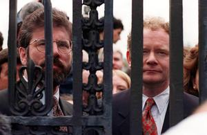 PACEMAKER BELFAST  On the first day of the ulster Peace Talks Gerry Adams and Martin McGuinness locked out of the stormont talks. PHOTO MARTIN WRIGHT